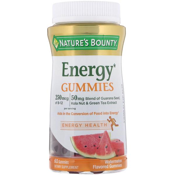 Nature's Bounty, Энергетические жевательные таблетки со вкусом арбуза , 60 шт.