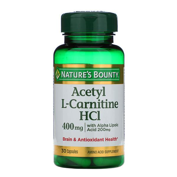 Ацетил L-карнитин  HCI, 400 мг, 30 капсул