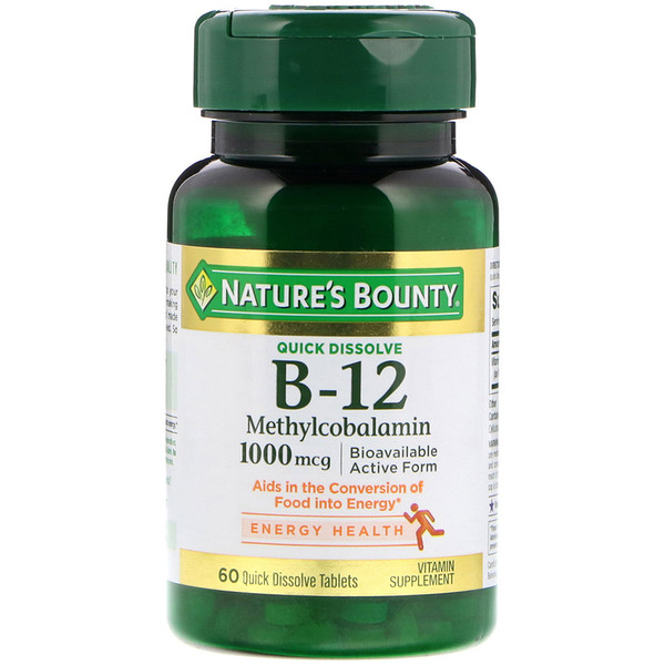 Nature's Bounty, B-12, Natural Cherry Flavor, 1,000 mg, 60 Quick Dissolve Tablets (Discontinued Item)