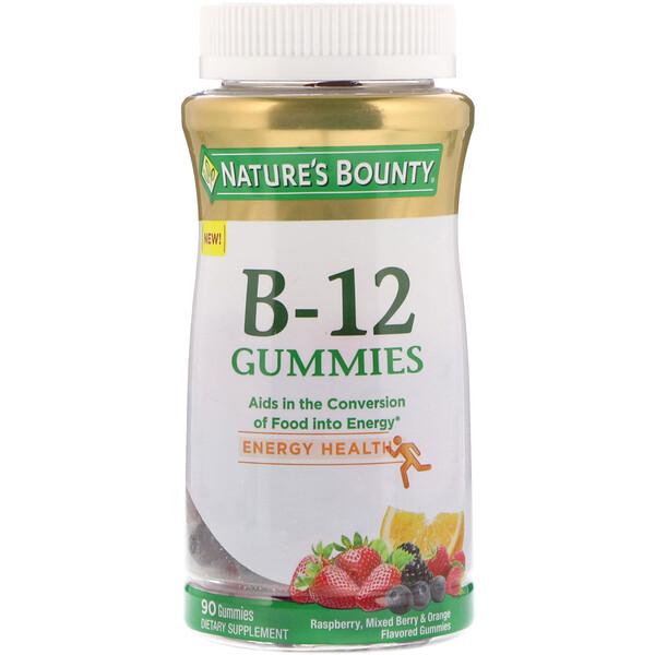 Nature's Bounty, Витамин B-12 в жевательных таблетках, со вкусом малины, ягодного сбора и апельсина, 90 жевательных таблеток