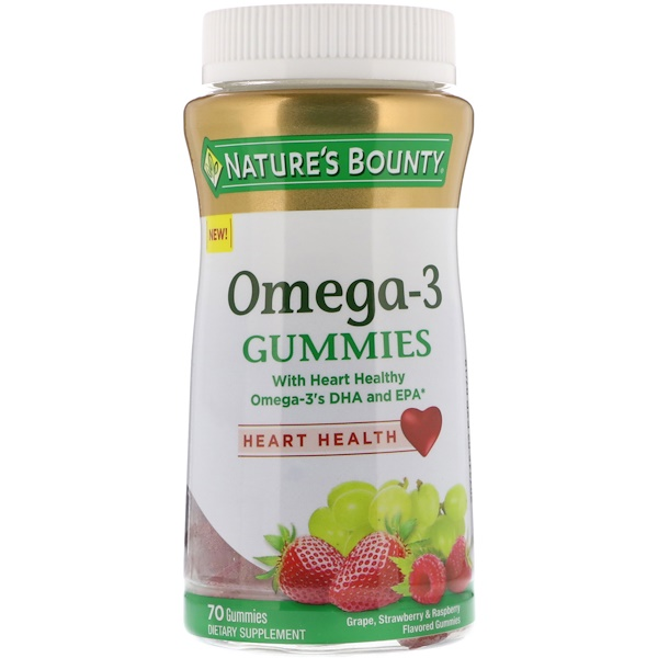Nature's Bounty, Жевательные таблетки с Омега-3, виноград, со вкусом клубники и малины, 70 жевательных таблеток