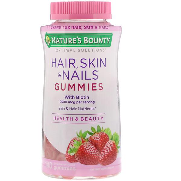 Nature's Bounty, Optimal Solutions, для волос, кожи и ногтей, с ароматом клубники, 2500мкг, 140жевательных конфет