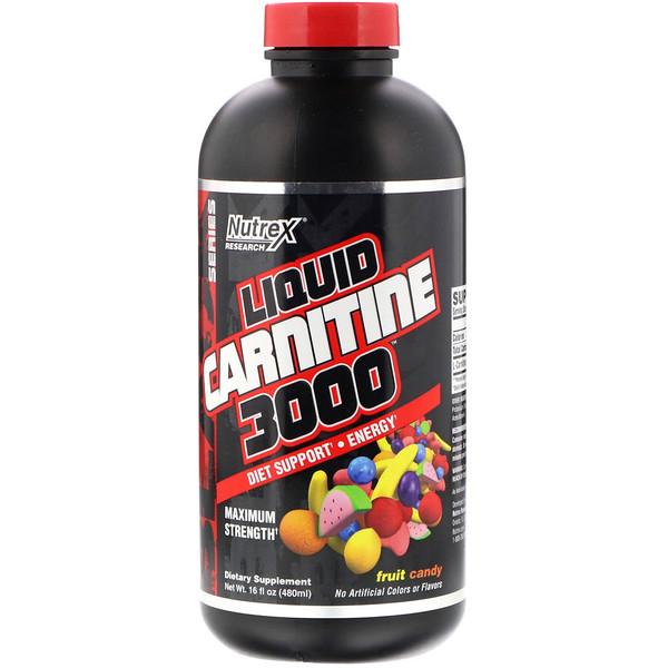 Nutrex Research, Жидкий карнитин 3000, фрукты в карамели, 16 жидких унций (480 мл) (Discontinued Item)