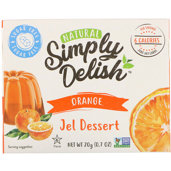 Natural Simply Delish, Natural Jel Dessert, Orange, 0.7 oz (20 g)