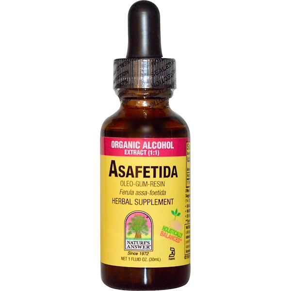 Nature's Answer, Asafetida, Органический спиртовой экстракт, 1 жидкая унция (30 мл) (Discontinued Item)
