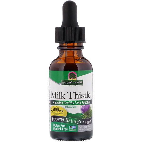 Расторопша, не содержит спирт, 2000 мг, 1 унция (30 мл)