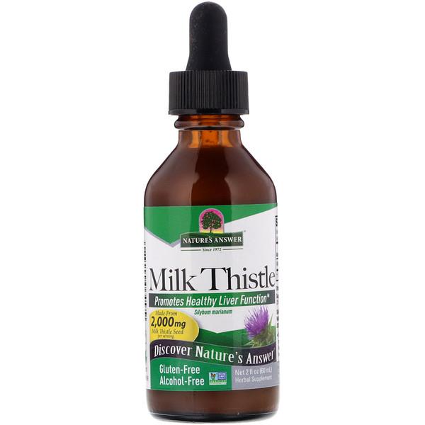 Расторопша, без спирта, 2000 мг, 2 жидких унции (60 мл)