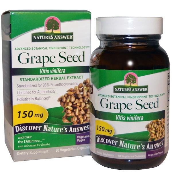Nature's Answer, Виноградные косточки, стандартизированный травяной экстракт, 150 мг, 60 растительных капсул (Discontinued Item)