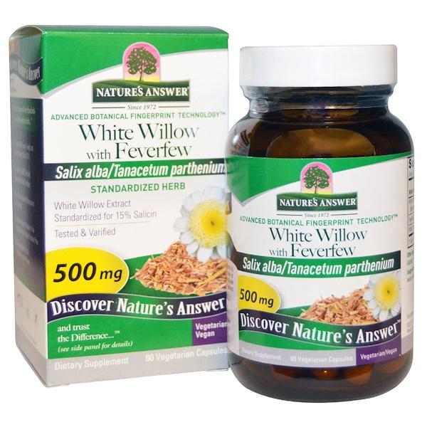 Белая ива с пиретрумом, 500 мг, 60 растительных капсул