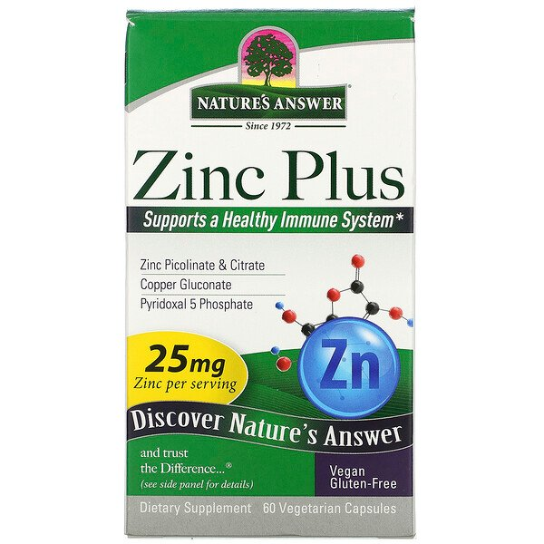 Nature's Answer, Zinc Plus, 25 mg, 60 Vegetarian Capsules