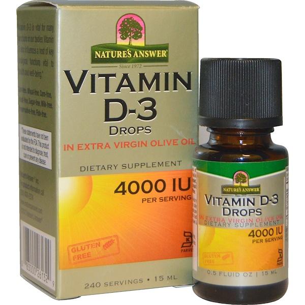 Витамин D3 в каплях, 4000МЕ, 15мл (0,5жидкой унции)