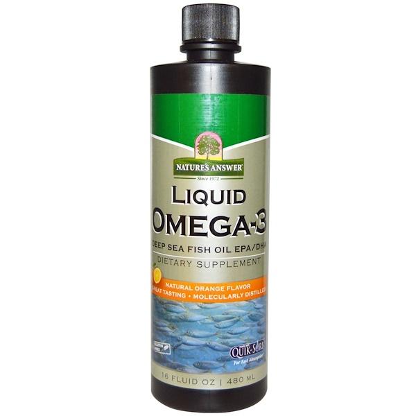Nature's Answer, Жидкие кислоты Омега-3, Рыбий жир с ЭПК/ДГК, натуральный апельсиновый вкус, 16 жидких унций (480 мл) (Discontinued Item)