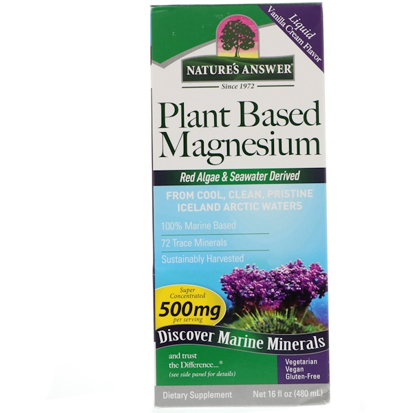 Nature's Answer, Магний на растительной основе, Вкус ванили и сливок, 500 мг, 16 ж. унц.(480 мл) (Discontinued Item)
