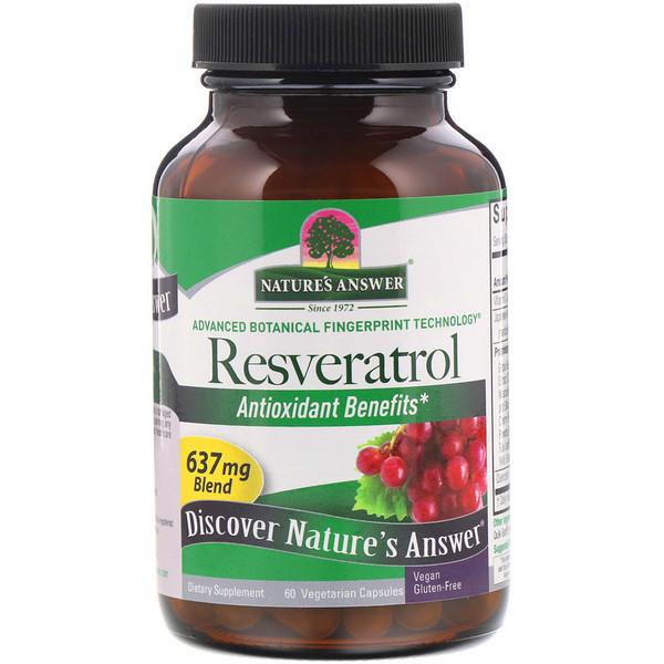 Nature's Answer, Ресвератрол, 637 мг, 60 вегетарианских капсул