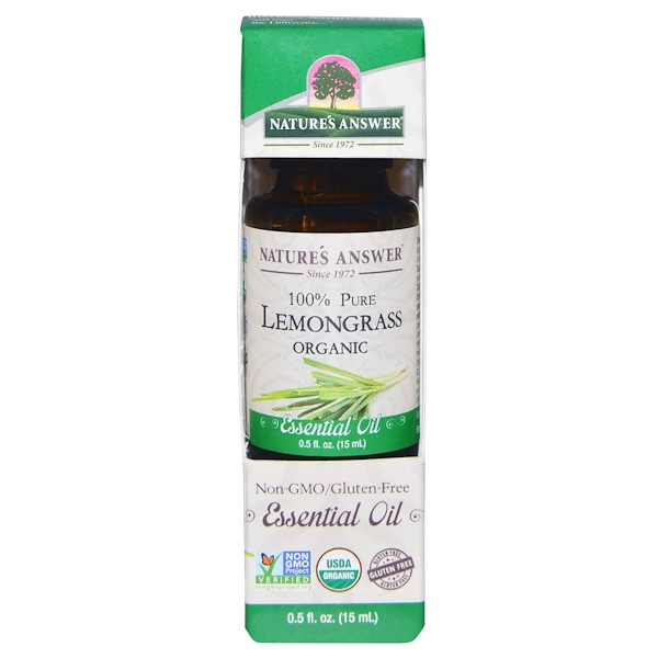 Органическое эфирное масло, 100% лемонграсс, 15 мл (0,5 унций)