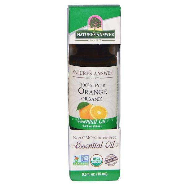 Органические эфирные масла, масло апельсина, 0,5 жидких унций (15 мл)