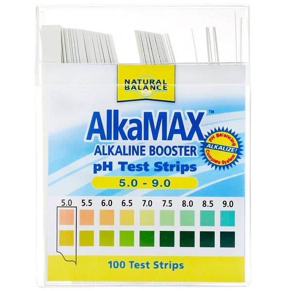Natural Balance, AlkaMax, тест-полоски pH со средством повышения щелочности, 100 тест-полосок