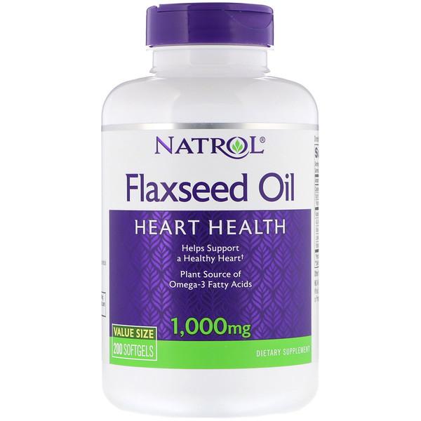 Льняное масло, здоровье сердца, 1000 мг, 200 мягких таблеток