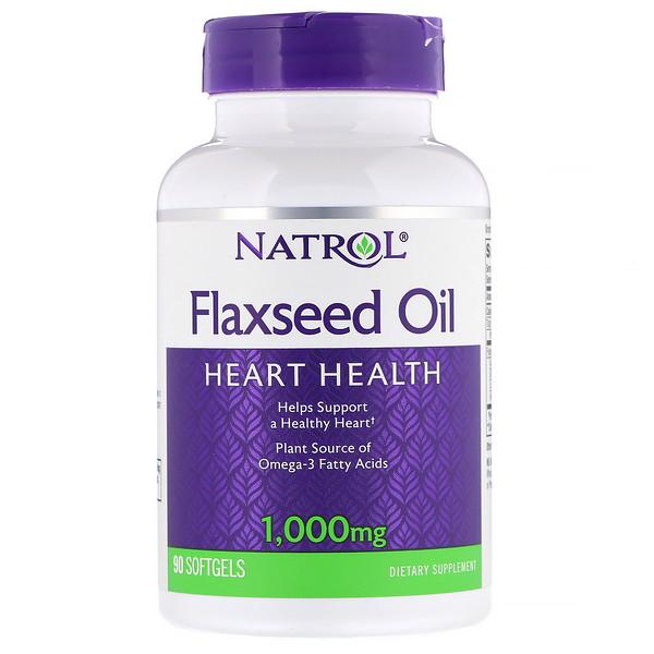 Natrol, Льняное масло, для здоровья сердца, 1000мг, 90мягких таблеток