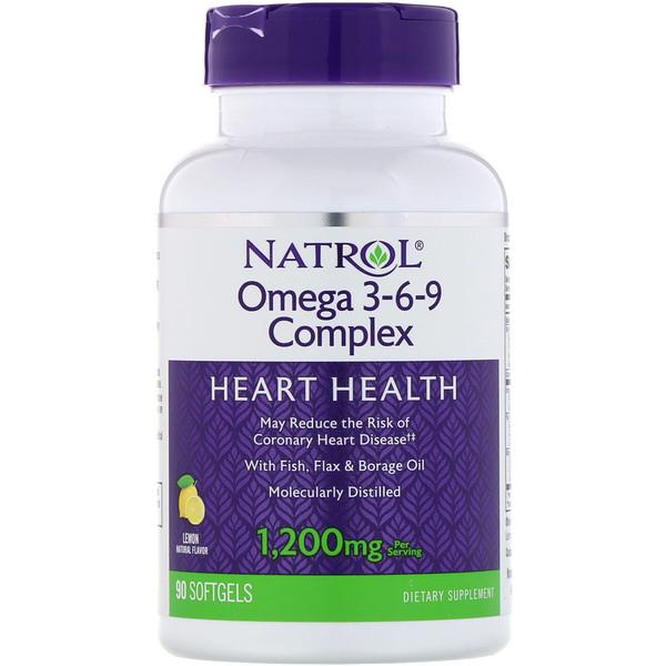 Natrol, Комплекс омега 3-6-9, со вкусом лимона, 1200 мг, 90 мягких таблеток (Discontinued Item)