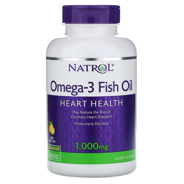 Рыбий жир омега-3, натуральный лимонный вкус, 1000 мг, 150 мягких таблеток