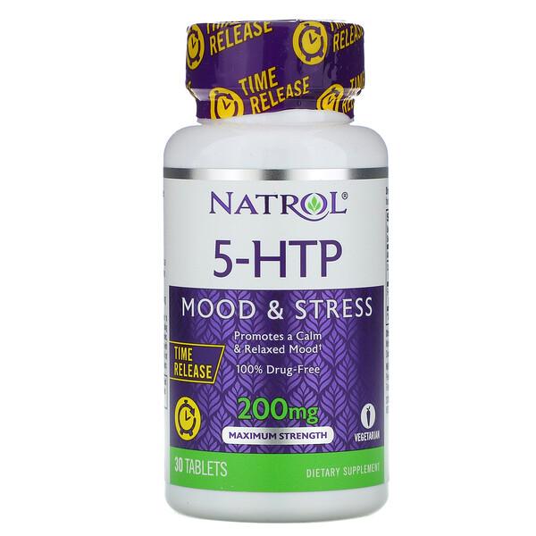 5-HTP, медленное высвобождение, максимальная сила, 200 мг, 30 таблеток