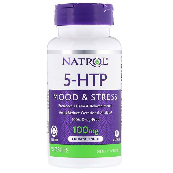 5-гидрокситриптофан, медленное высвобождение, с повышенной силой действия, 100 мг, 45 таблеток
