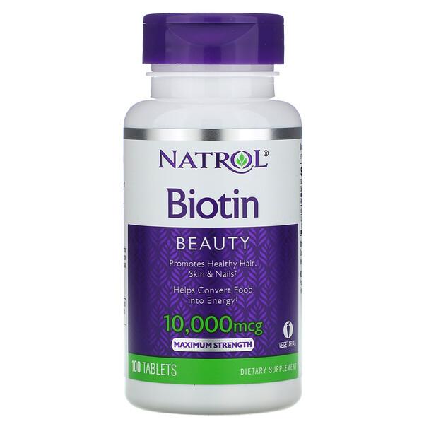 Natrol, Биотин, максимальное действие, 10000мкг, 100таблеток
