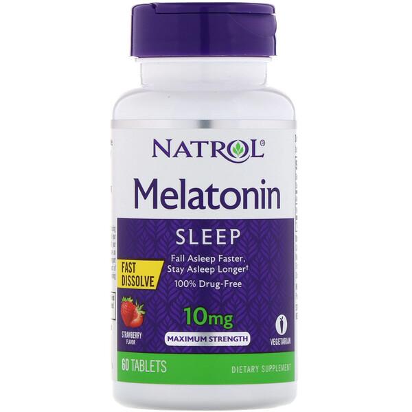 Natrol, Мелатонин, быстрорастворимый, максимальный эффект, клубника, 10мг, 60таблеток (Discontinued Item)