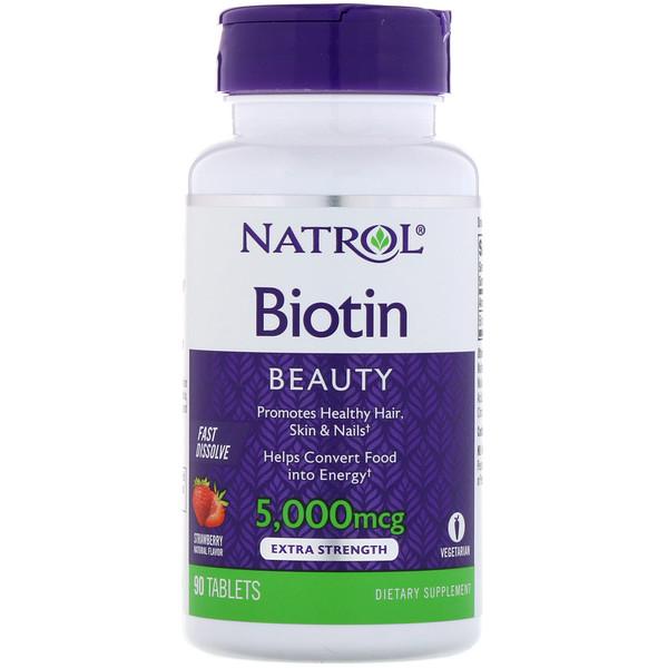 Биотин, клубника, 5000 мкг, 90 таблеток