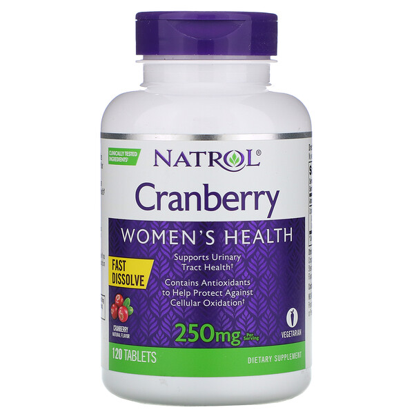 Быстрорастворимый продукт со вкусом клюквы, 250 мг, 120 таблеток