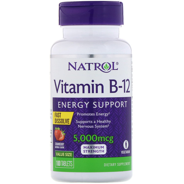 Витамин B12, быстрорастворимый, максимальная эффективность, клубника, 5000 мкг, 100 таблеток