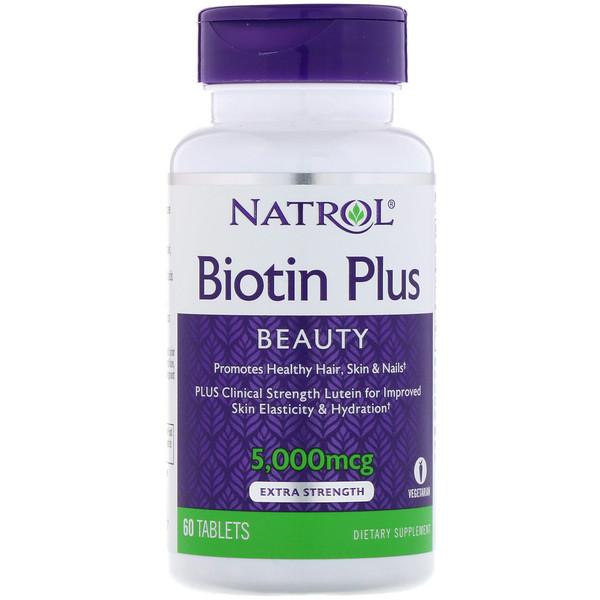Biotin Plus, повышенная эффективность, 5000 мкг, 60 таблеток