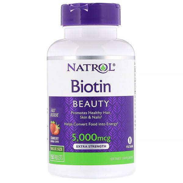 Natrol, Биотин, увеличенная сила действия, со вкусом клубники, 5000мкг, 150таблеток (Discontinued Item)