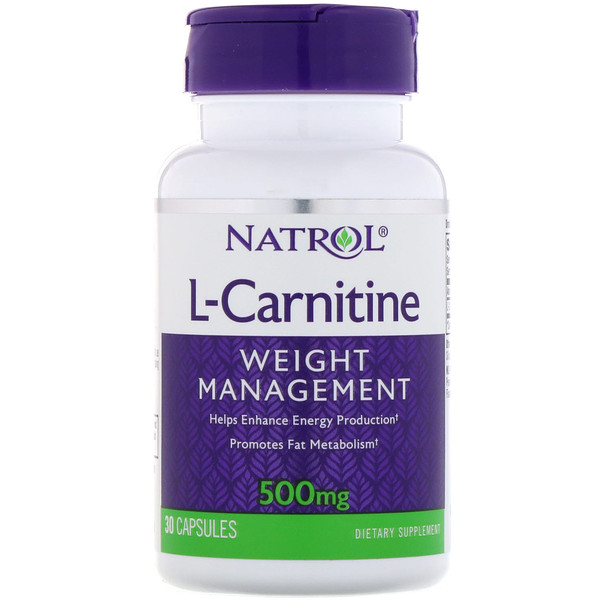 Natrol, L-карнитин, 500 мг, 30 капсул (Discontinued Item)