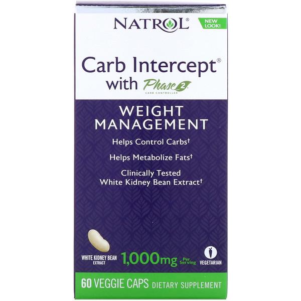 Natrol, Carb Intercept с Phase2 CarbController, 1000мг, 60растительных капсул
