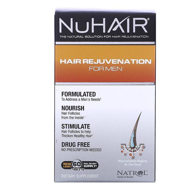 NuHair, восстановление волос для мужчин, 60 таблеток