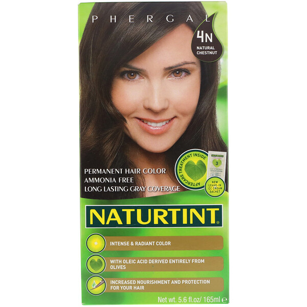Стойкая краска для волос, 4N, Натуральный каштан, 165мл (5,6 жидк.унций)