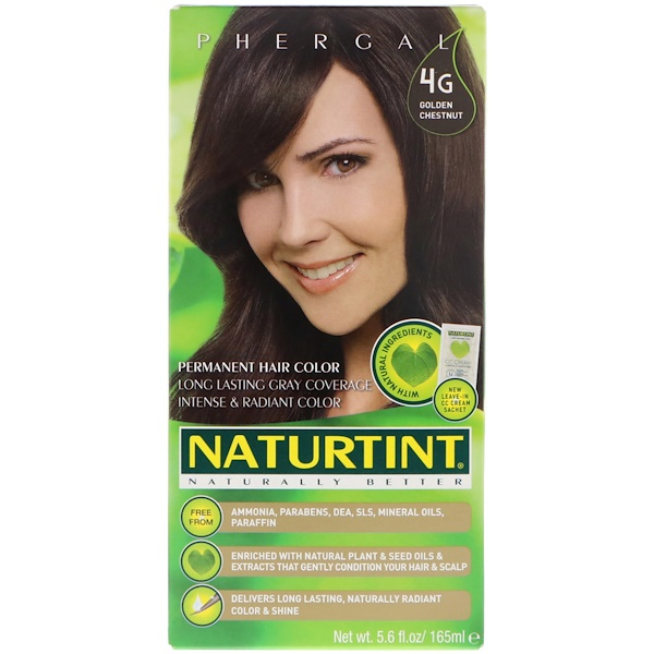 Перманентная краска для волос, 4G золотой каштан, 165 мл
