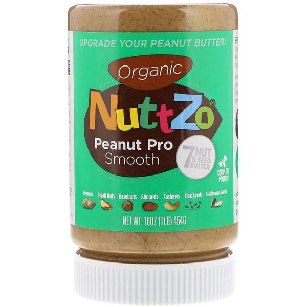 Nuttzo, Органическое масло из семи орехов и зерен, Peanut Pro Smooth, 16 унц. (454 г) (Discontinued Item)