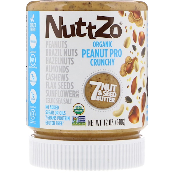 Nuttzo, Органическое, арахис про, 7 орехов и масло семян, хрустящее, 12 унций (340 г) (Discontinued Item)