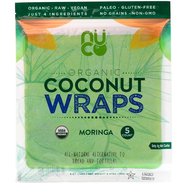 Органические кокосовые лепешки, моринга, 5шт. (14г) каждая