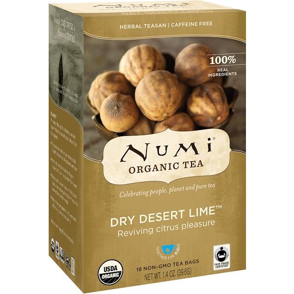 Numi Tea, Organic Tea, Herbal Teasans, Dry Desert Lime, Caffeine Free, 18 Tea Bags, 1.4 oz (39.6 g) Each (Discontinued Item)
