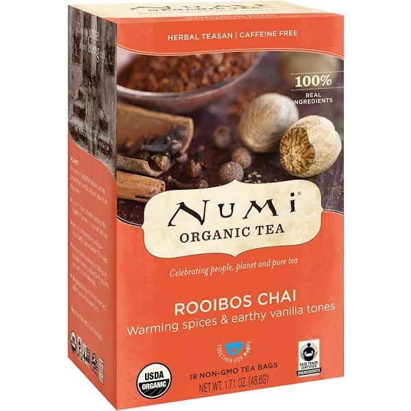Органические чаи, Herbal Teasans, ройбуш, без кофеина, 18 чайных пакетиков, 1,71 унц. (48,6 г)