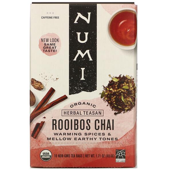 Organic Herbal Teasan, Rooibos Chai, Caffeine Free, 18 Tea Bags, 1.71 oz (48.6 g)