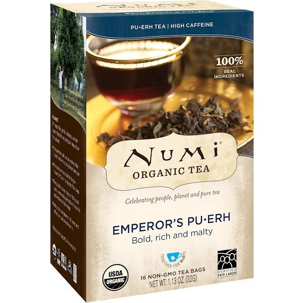 Органический чай, Императорский Пуэр, 16 чайных пакетиков, 1,13 унц. (32 г)