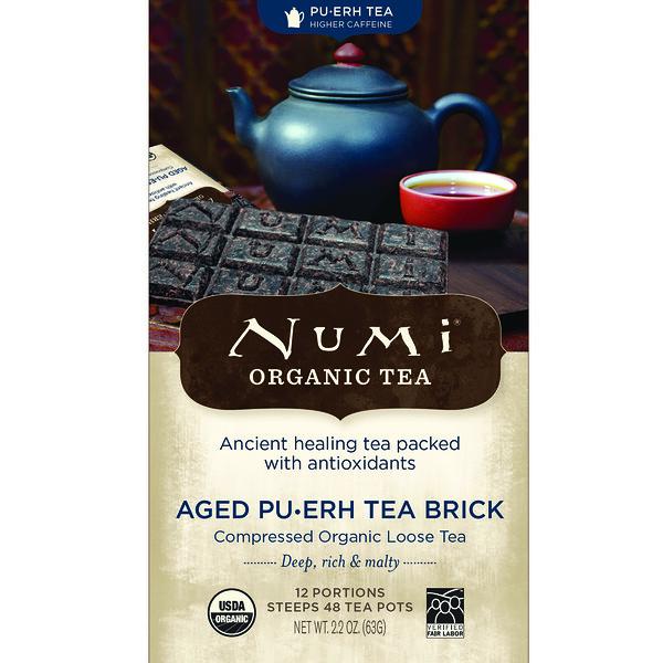 Numi Tea, Органический чай, чай пуэр, выдержанный пуэр, брикет чая пуэр, 2,2 унц. (63 г)