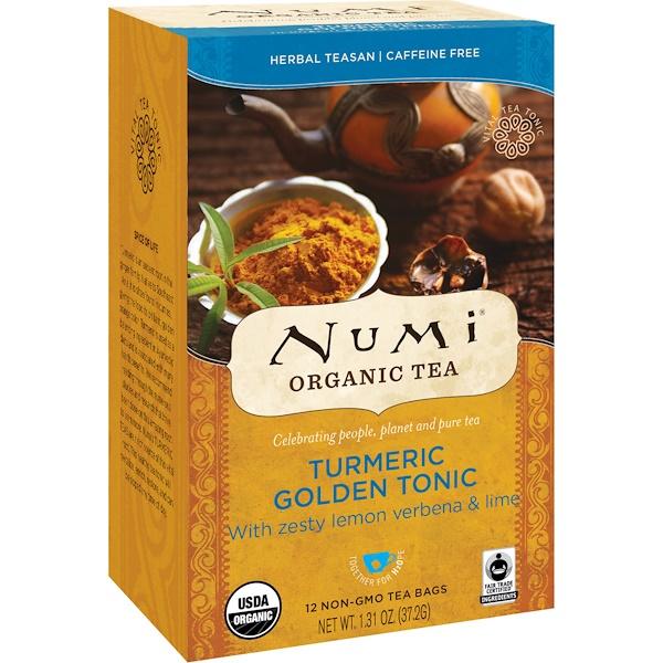 Numi Tea, Organic Tea, Herbal Teasan, Turmeric Golden Tonic, Caffeine Free, 12 Tea Bags, 1.31 oz (37.2 g) (Discontinued Item)