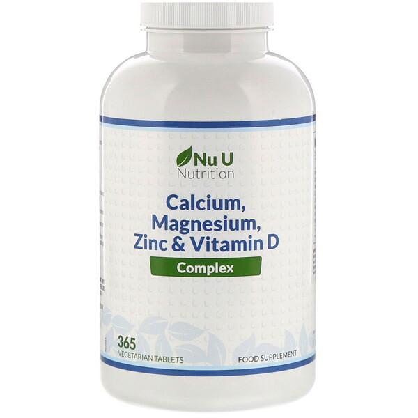 Nu U Nutrition, Комплекс из кальция, магния, цинка и витаминаD, 365вегетарианских таблеток