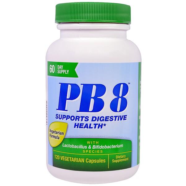 Nutrition Now, PB8 с лактобактериями и бифидобактериями, 120 растительных капсул